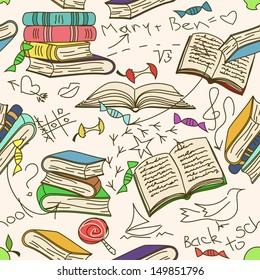 Comic doodle seamless pattern of books and children's scribbles