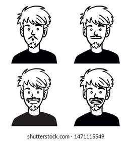 comic doodle vector head of a laughing man.