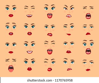 Comic emotions. Women facial expressions, gestures, emotions happiness surprise disgust sadness rapture disappointment fear surprise joy, smile cry coquetry cute mouth. Cartoon icons big set isolated.