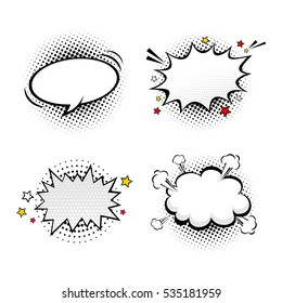 Comic empty speech bubbles on halftone dots background in retro pop art style. Vector set of dynamic cartoon funny dialog balloons sketch isolated on white background.