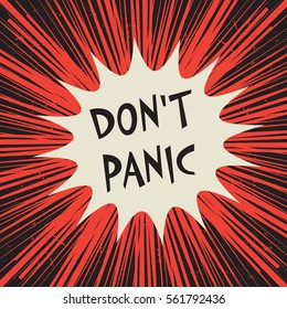 Comic explosion business concept poster with text Don't Panic, vector illustration
