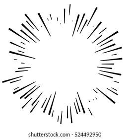 Comic explosion effect. Radiating, radial lines. Starburst, sunburst element