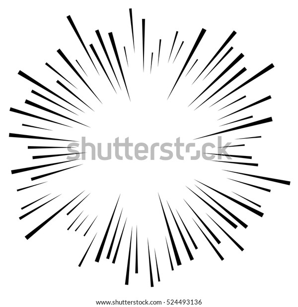 Comic explosion effect. Radiating, radial lines. Starburst, sunburst element