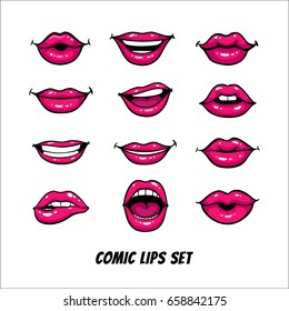 Comic female lips set. Mouth with a kiss, smile, tongue, teeth, open, closed lips. Vector comic illustration in pop art retro style isolated on white background.