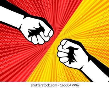 Comic fight and battle concept with male fists opposite each others on red and yellow backgrounds with humor effects. Vector illustration
