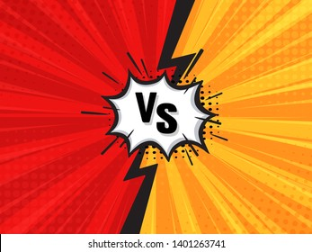 Comic Fighting Cartoon Background.Red Vs Yellow. Vector Illustration.