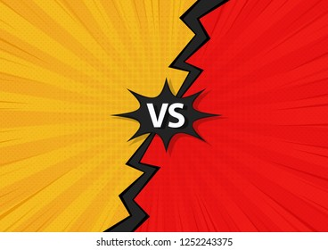 Comic Fighting Cartoon Background.Blue Vs Red. Vector Illustration Design.