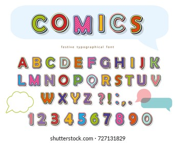 Comic font design. Funny pop art letters and numbers. Vector
