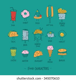 Comic food characters drawing with flat lines and color paint on turquoise background