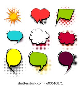 Comic funny collection empty colored cloud pop art vector heart shape. Big set colorful message bubble speech for comic cartoon expression illustration.