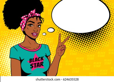Comic girl. Sexy african american hippie woman in t-shirt with Black Star text smiles and shows victory sign and empty speech bubble. Vector colorful background in pop art retro comic style.