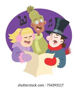 comic illustration of Christmas carol singers