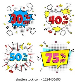 Comic lettering 30%, 40%, 50%, 75% off SALE! set in the speech bubble comic style flat design. Dynamic retro vintage pop art illustration isolated on background. Exclamation 30%, 40%, 50%, 75% off.