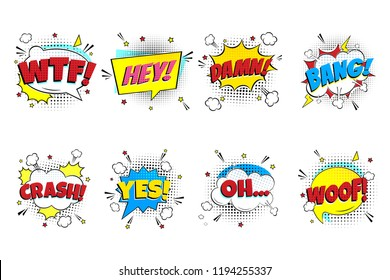 Comic lettering set. WTF!, HEY!, DAMN!, BANG!, CRASH!, YES!, OH..., WOOF! in the speech bubbles comic style flat design. Dynamic pop art illustration isolated on white background. Exclamation concept.