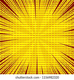 Comic light yellow template with rays radial and red dotted humor effects. Vector illustration