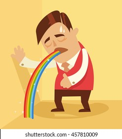 Comic man character pukes rainbow. Vector flat cartoon illustration
