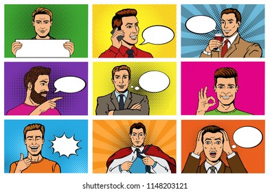 Comic man vector popart cartoon businessman character speaking bubble speech or comicguy expression illustration male set of men in pop art fashion style on background