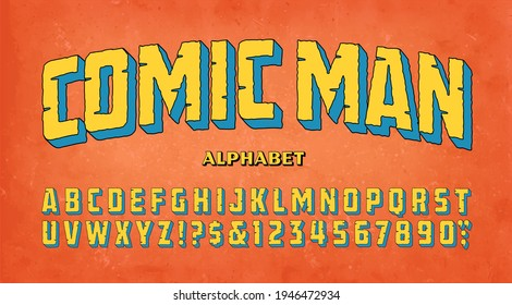 Comic Man; a vintage style comics alphabet with a rustic or prehistoric roughness and cracks.