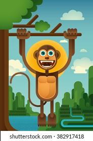 Comic monkey hanging on the tree. Vector illustration.
