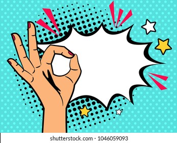 Comic ok sign. Hand of cartoon vintage woman with ok gesture and text burst box vector illustration