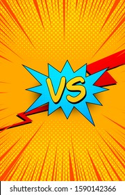 Comic orange bright explosive template with red lightning blue speech bubble VS letters halftone and rays effects. Vector illustration