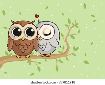 Comic Owls in Love sitting on a branch