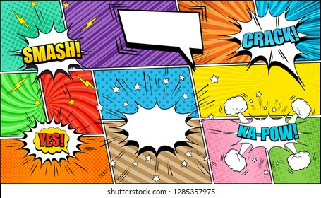 Comic page background with speech bubbles Crack Kapow Smash Yes wordings stars lightnings sound halftone rays slanted lines and radial effects in different colors. Vector illustration