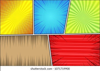 Comic page book bright background with radial slanted lines rays and halftone humor effects in different colors. Blank template. Vector illustration