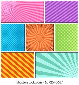 Comic page bright background with radial slanted lines rays and halftone humor effects in different colors. Vector illustration