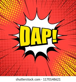 Comic page bright template with yellow Dap wording white speech bubble dotted halftone and rays humor effects on red background. Vector illustration