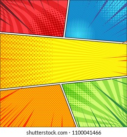 Comic page concept with halftone radial rays slanted lines effects in red blue yellow orange green colors. Vector illustration