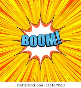 Comic page explosive concept with blue Boom wording white speech bubble radial and rays effects on yellow background. Vector illustration
