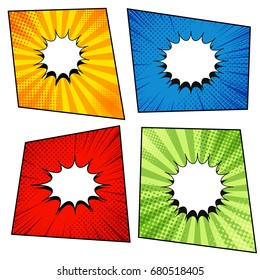 Comic pages collection with white blank speech bubbles, radial, rays and halftone effects in orange, blue, red, green colors. Vector illustration