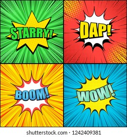 Comic pages colorful templates with speech bubbles Starry Dap Wow Boom wordings radial rays halftone effects. Vector illustration