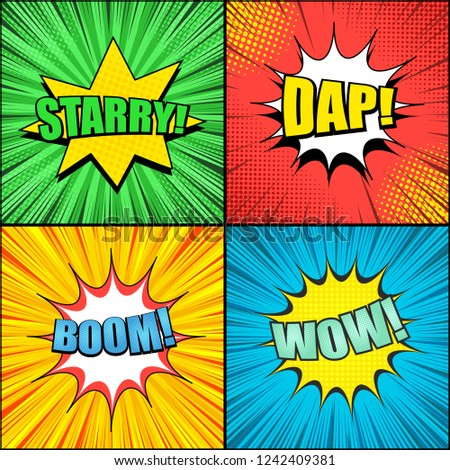 Comic Pages Colorful Templates Speech Bubbles Stock Vector Royalty