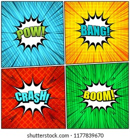 Comic pages elegant collection with colorful Pow Bang Crash Boom wordings slanted lines grid rays and halftone effects. Vector illustration