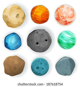 Comic Planets Set/ Illustration of a set of various planets, moons, asteroid and earth globes isolated on white for scifi backgrounds and space game ui