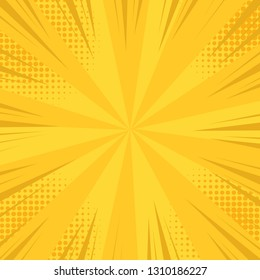 Comic pop art background speed lines halftone dots with high quality on Yellow color - Cartoon Vector Illustration eps 10