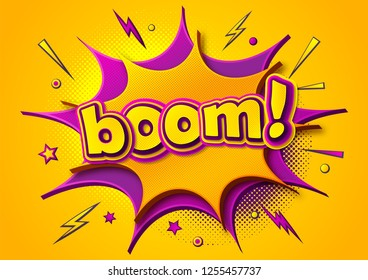 Comic poster: speech bubbles, burst, boom text and sound effect. Colorful funny banner in comics book and pop art style. Yellow-purple cartoon banner with halftone effect. Vector illustration