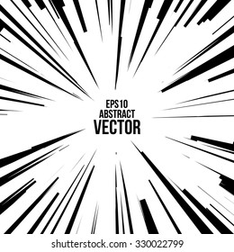 Comic Radial Speed Lines. Graphic Explosion with Speed Lines. Comic Book Design Element. Vector Illustration.