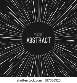 Comic Radial Speed Lines. Graphic Explosion. Traveling In Space Concept. Warp Stars. Explosion. Ray Galaxy. Abstract Background. Vector Illustration.