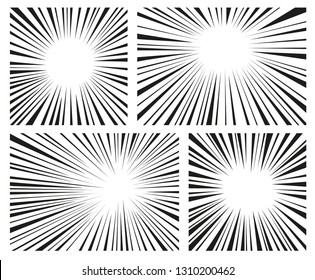 comic radial speed lines vector background wallpaper. Set of black and white lines , comics style background. Manga action, speed abstract. Vector illustration. Isolated on white background
