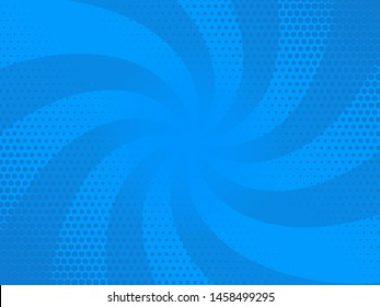 Comic rays blue dots background. Vector illustration in pop art retro style