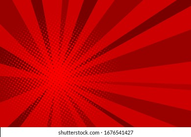 Comic red sunbeam background. Retro pop art style cartoon background. Vintage halftone vector illustration. Layout retro cartoon template. Comic book red superhero burst effect