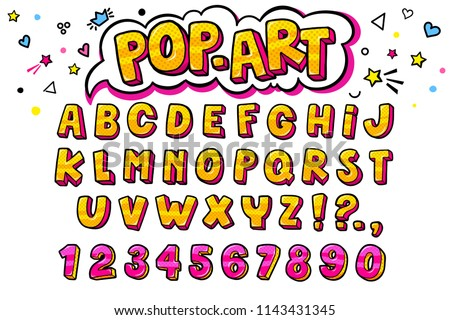 Comic retro letters set