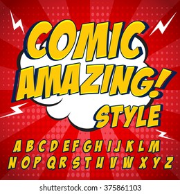 Comic retro yellow alphabet set. Letters, numbers and figures for kids' illustrations, websites, comics, banners.