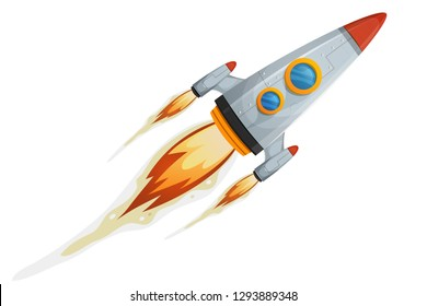 Comic Rocket Ship/ Illustration of a cartoon retro iron spaceship blasting off and flying isolated on white