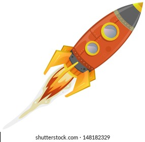 Comic Rocket Ship / Illustration of a cartoon retro red iron spaceship blasting off and flying isolated on white