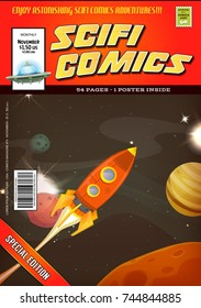 Comic Scifi Book Cover Template/ Illustration of a cartoon science fiction comic book cover template, with rocket ship flying into space landscape