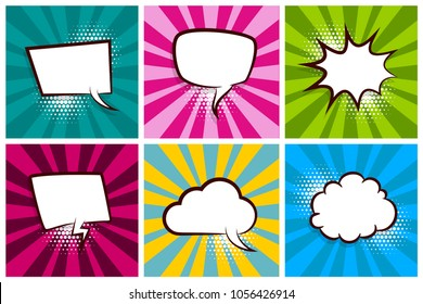 Comic set radial lines background pop art style vector. Cartoon colored sound bubble speech box for phrase text. Expression balloon sounds illustration. Advertice template. Comics book explosion.